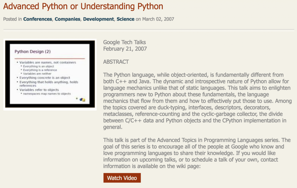 Advanced Python or Understanding Python
