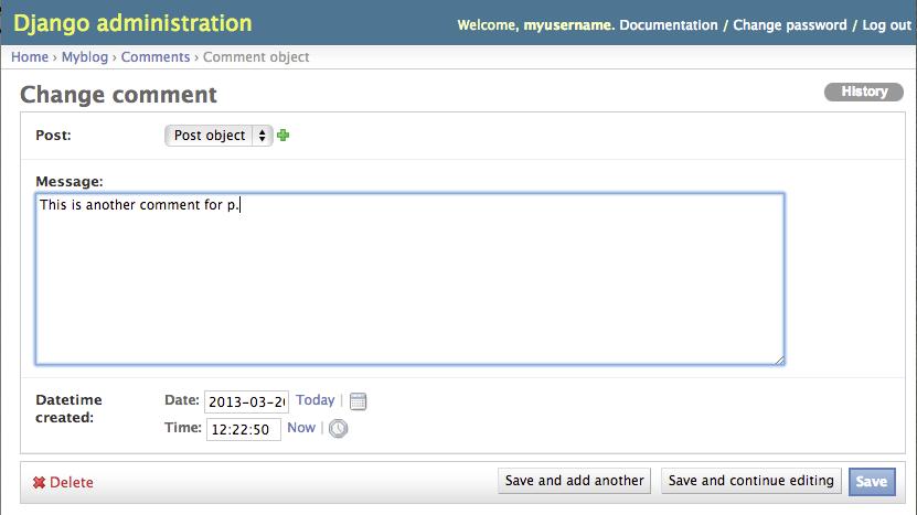 Django Admin Modify Comment Page 1