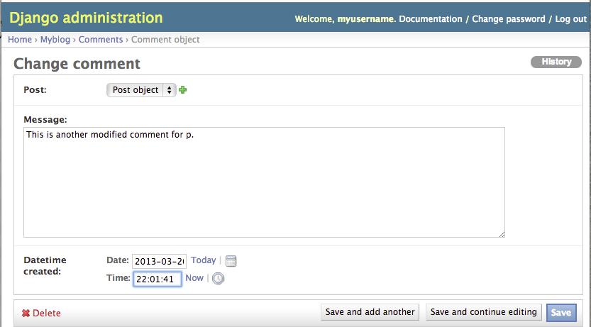 Django Admin Modify Comment Page2