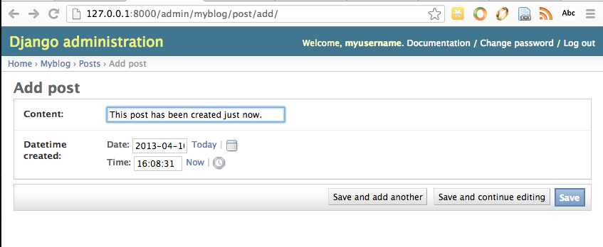Let's go ahead and add aPostusing the Admin interface at theAdmin Site