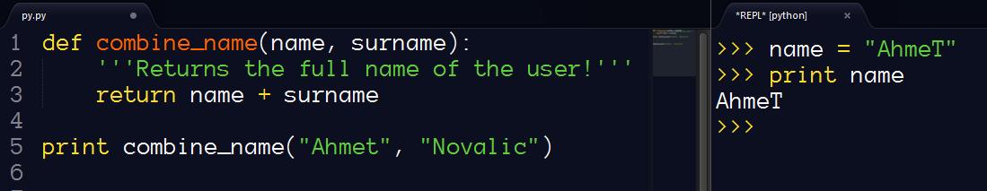 Python interpreter inside editor