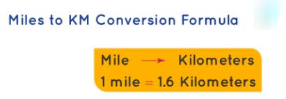 miles to km conversion formula