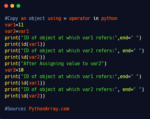 Copy an object using = operator in python