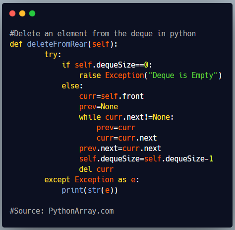 Delete an element from the deque in python 1