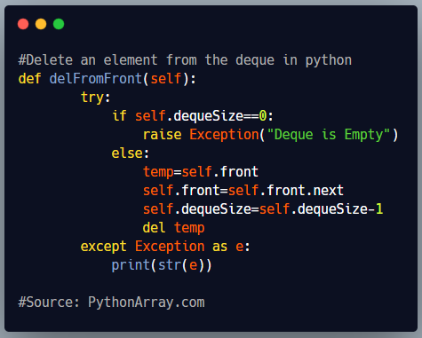 Delete an element from the deque in python