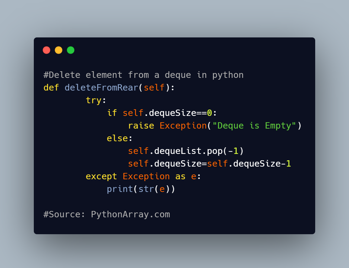 Delete element from a deque in python 1
