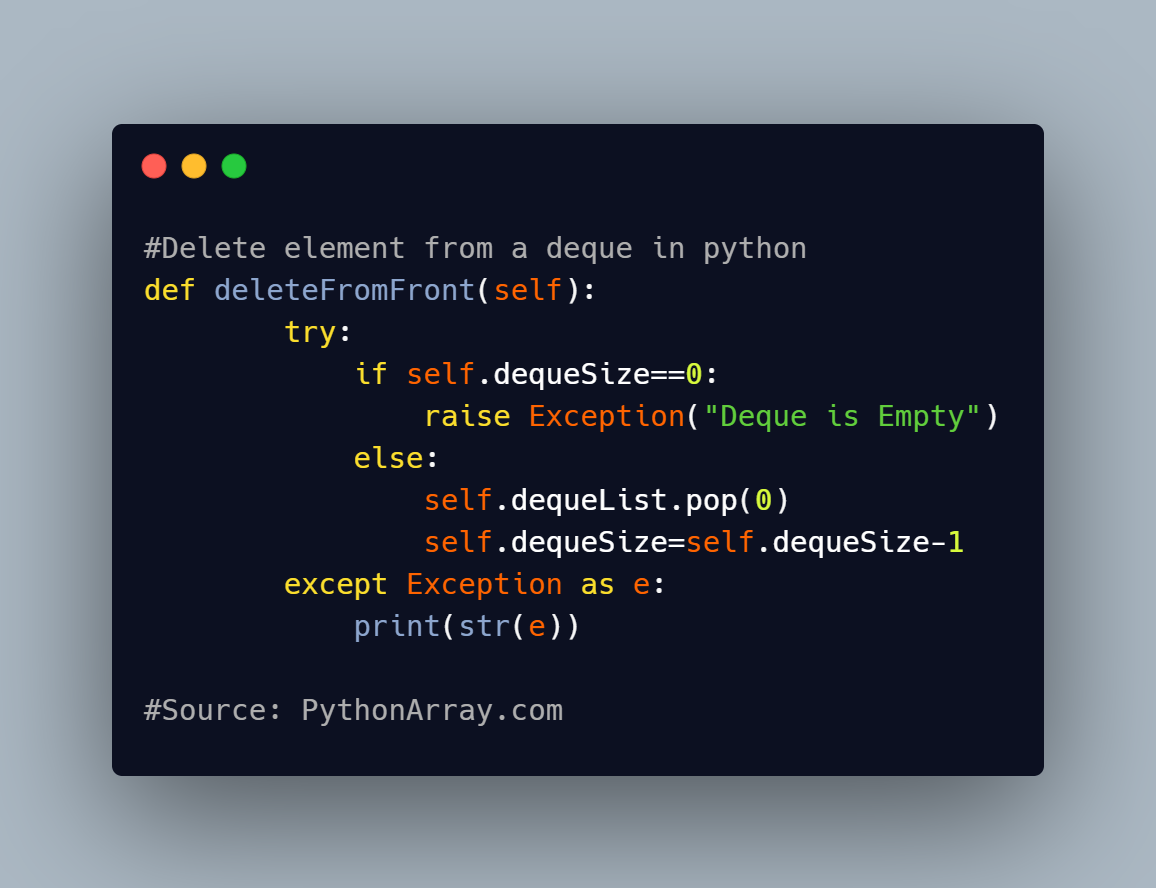 Delete element from a deque in python