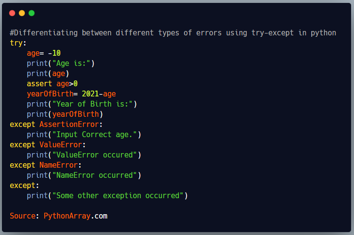 Differentiating between different types of errors using try-except in python 3