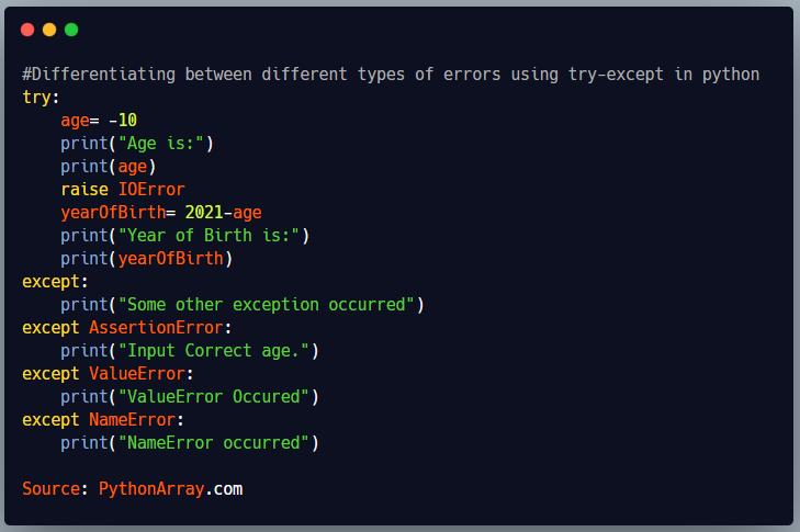 Differentiating between different types of errors using try-except in python 4