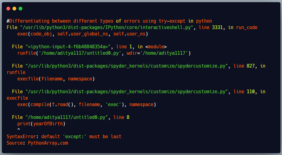 Differentiating between different types of errors using try-except in python out put