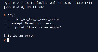 Example 10. Try and Exception block in Python 2.