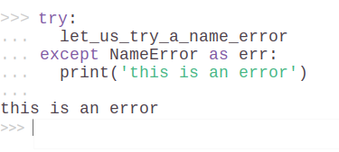 Example 11. Try and Exception block in Python 3.