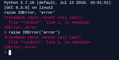 Example 8. Raise errors in Python 2.