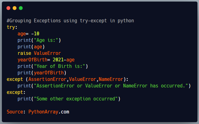 Grouping Exceptions using try-except in python