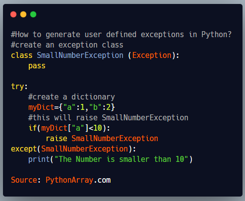 How to generate user defined exceptions in Python