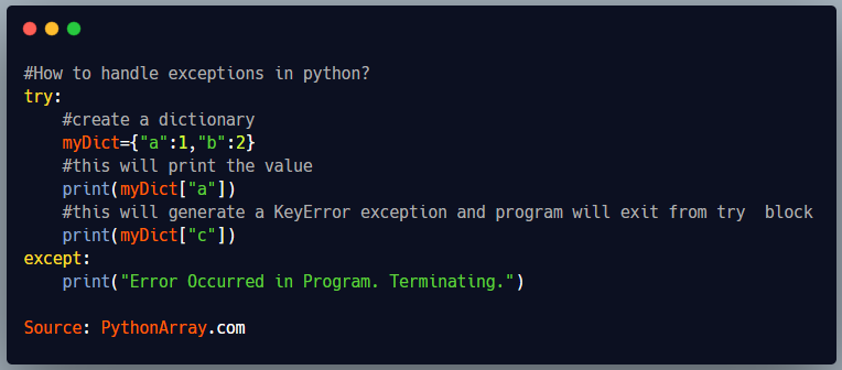 How to handle exceptions in python