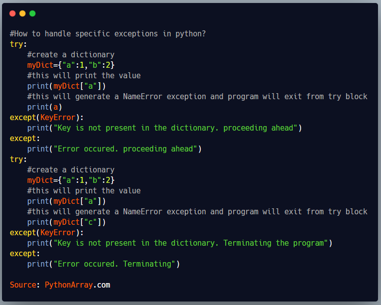 How to handle specific exceptions in python