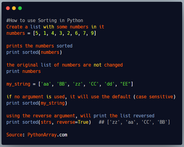 How to use Sorting in Python