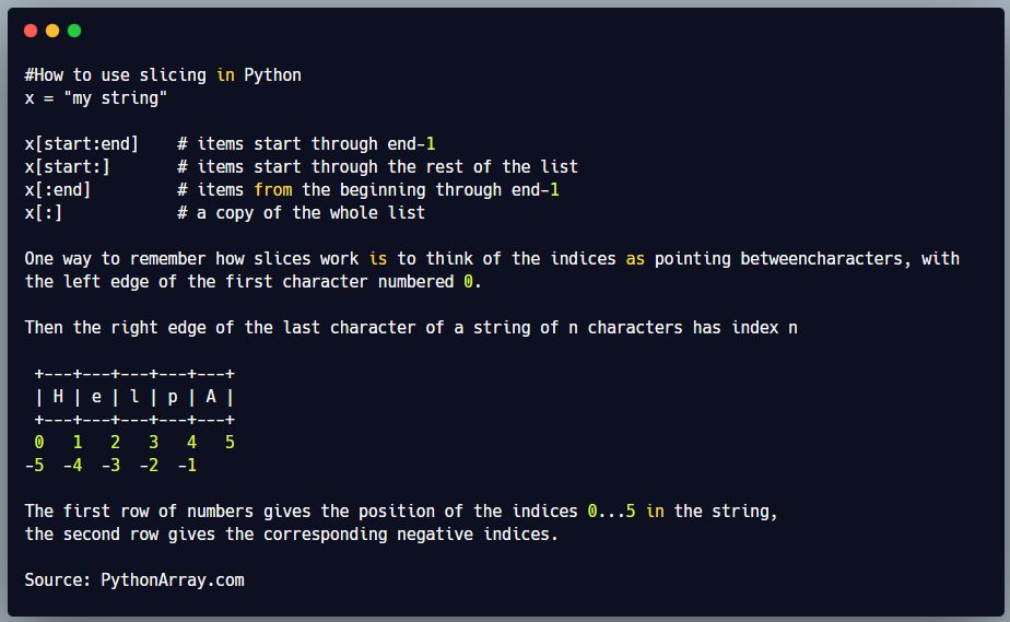 How to use slicing in Python