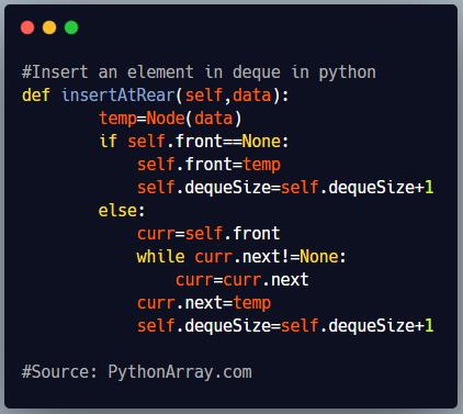 Insert an element in deque in python 1