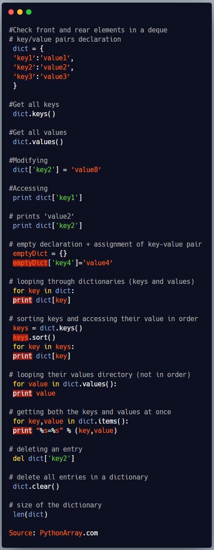 Python Dictionary Quick Guide