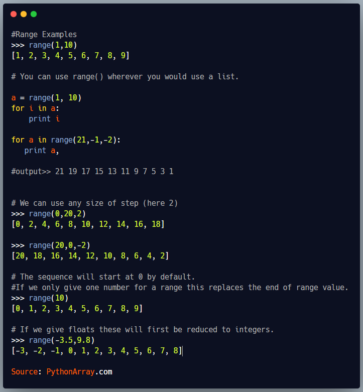 Python Range Function
