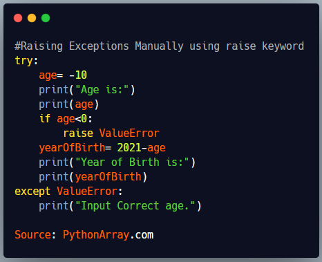 Raising Exceptions Manually using raise keyword