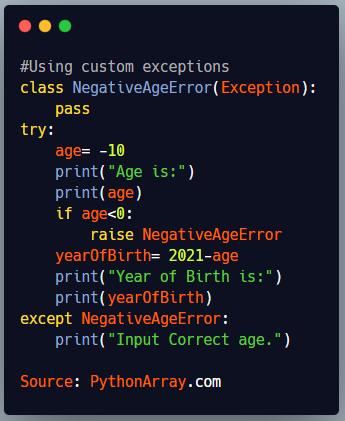 Using custom exceptions