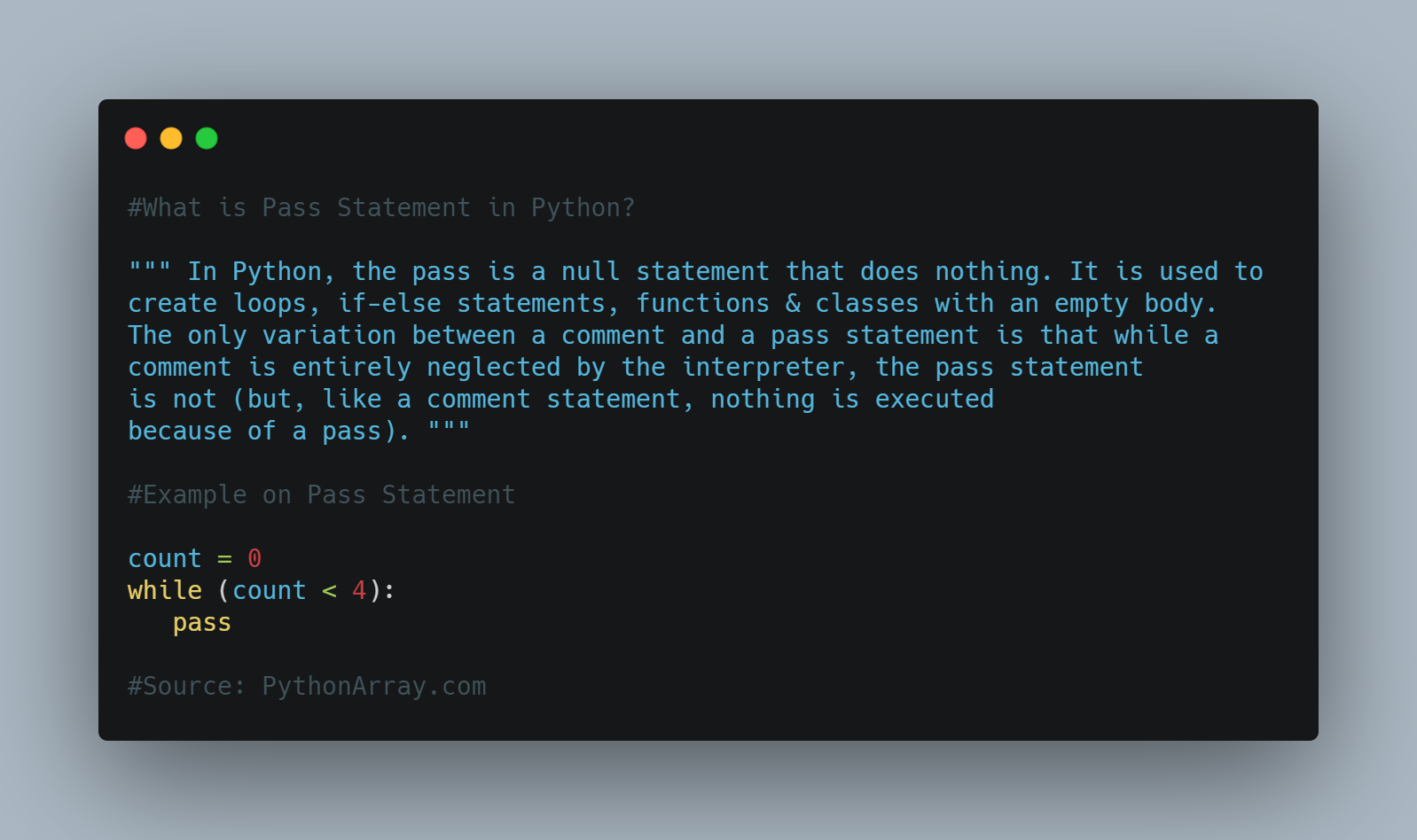 What is Pass Statement in Python