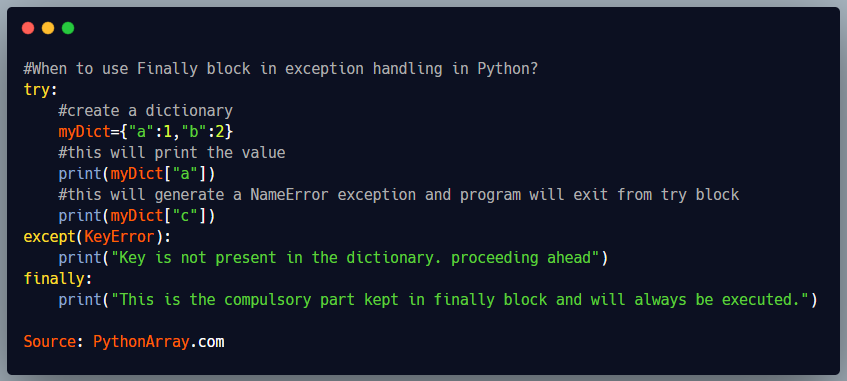 When to use Finally block in exception handling in Python