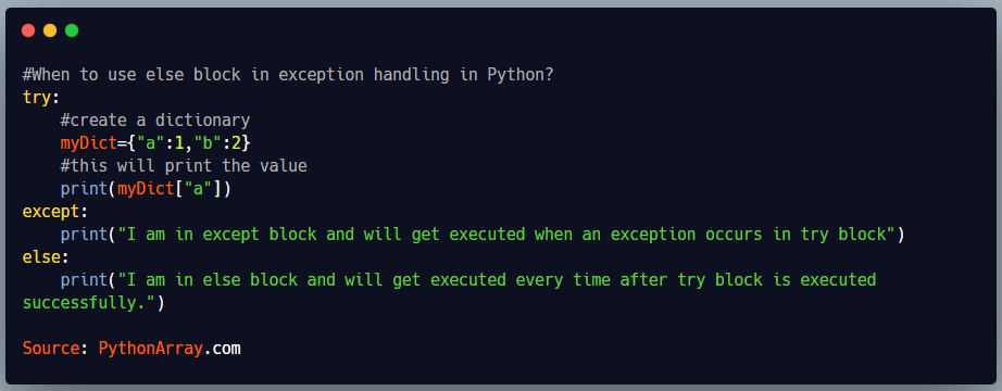 When to use else block in exception handling in Python